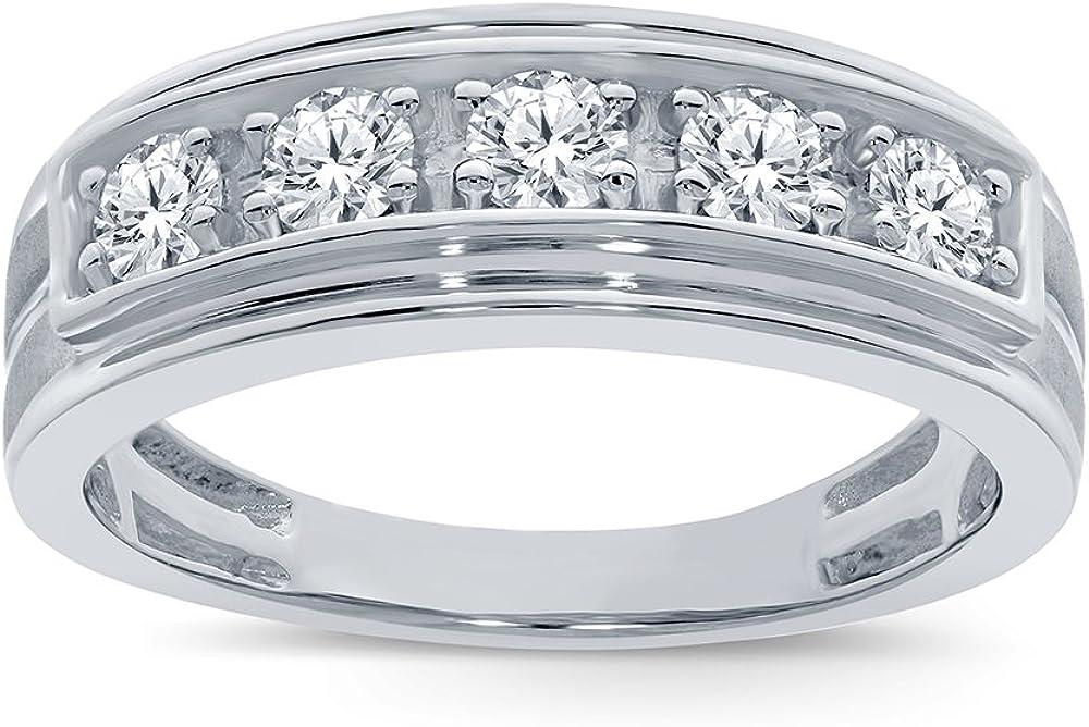 La Joya 3/4 cttw Round White Simulated Diamond 925 Sterling Silver 5 Stone Men's Engagement Wedding Band Ring for Him Mens Boys Teens