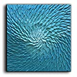 baccow 24X24 Inch Blue Green Flower Paintings Oil Hand Painting 3D Hand-Painted On Canvas Abstract Artwork Art Wood Inside Framed Hanging Wall Decoration Abstract Painting …
