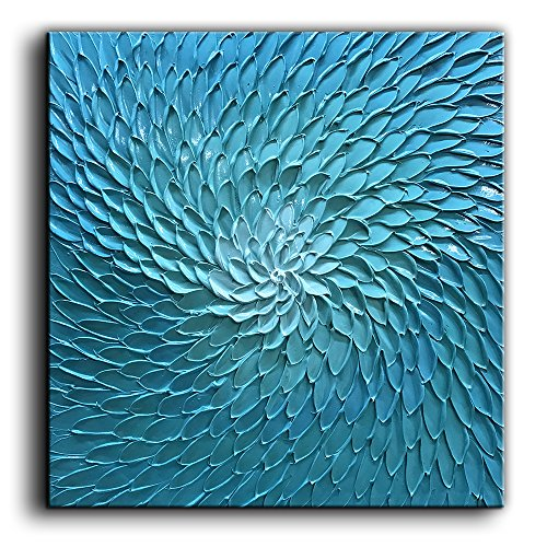 - baccow 24X24 Inch Blue Green Flower Paintings Oil Hand Painting 3D Hand-Painted On Canvas Abstract Artwork Art Wood Inside Framed Hanging Wall Decoration Abstract Painting …