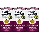 Little Remedies Saline Spray and Dropper | 0.5 oz | Pack of 3 | for Noses to Breathe Easily | Gently Wash Away Mucus | Newborn Safe