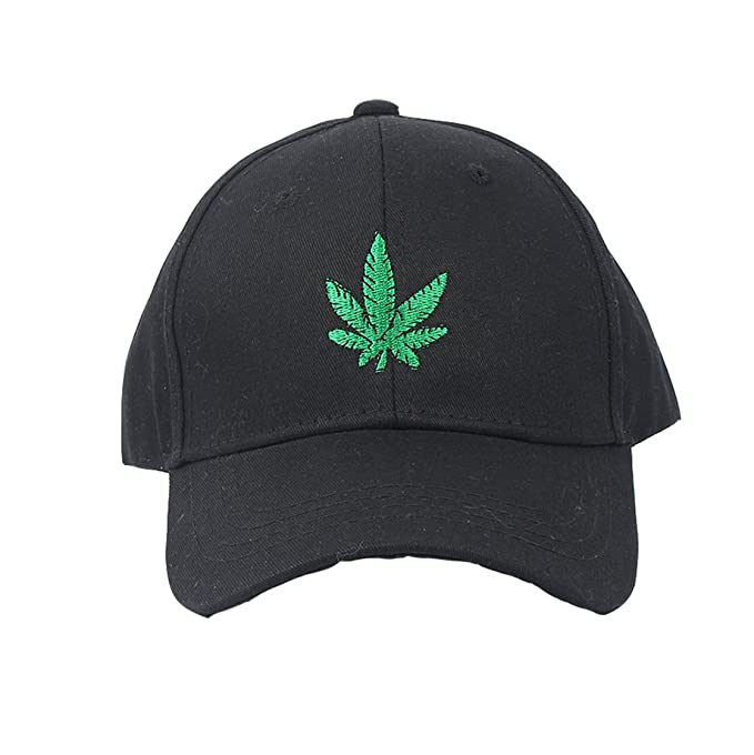 a57a8c2ac0c Baseball Cap Marijuana Pot Leaf Weed Cannabis Flat Bill Snapback Cap Front  Embroidred (Black)