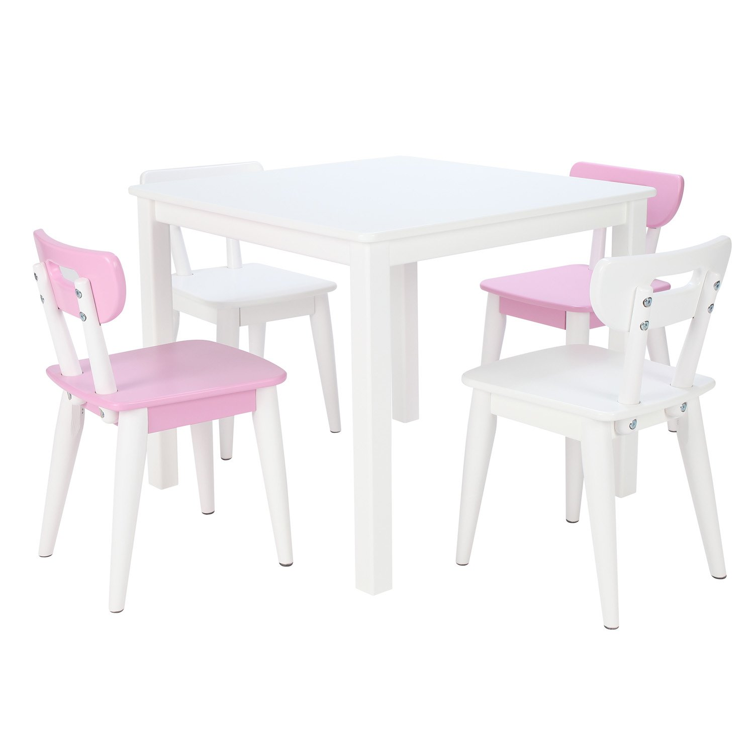 Max & Lily White Wood Kid and Toddler Square Table +  Modern Chairs (Pink, Pink, White, White)
