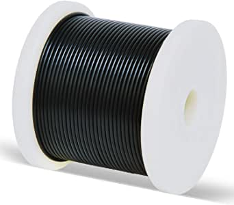 Length 100m,White Plastic Coated Rope 7x7 Strand Core IQQI 1//1.2mm Black//White Stainless Steel Cable,Outdoor Light Guide Wire