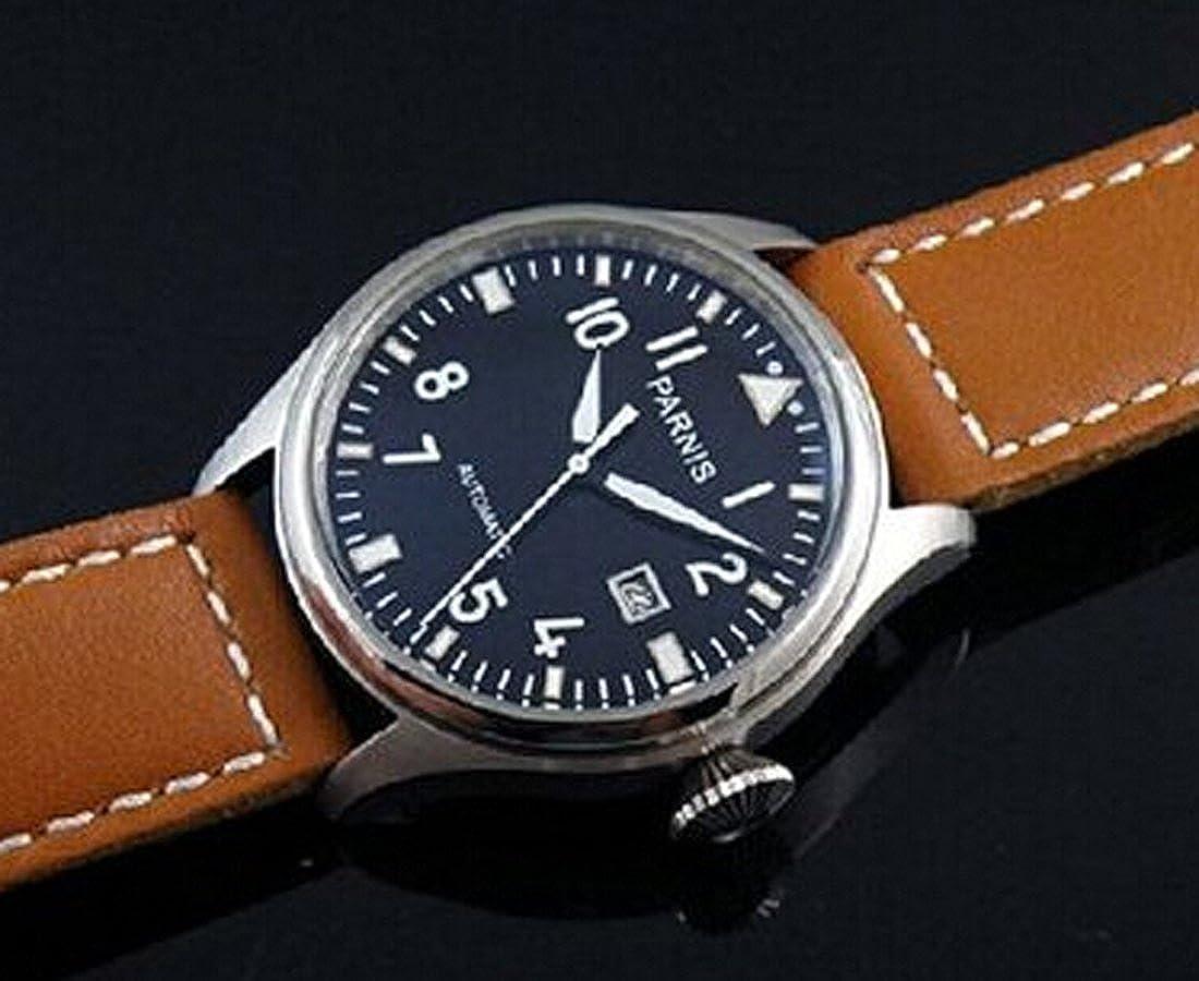 Amazon.com: Parnis Flieger Big Pilot Black Dial Calendar Automatic Mens Womens Black Leather Strap Wrist Watch: Watches