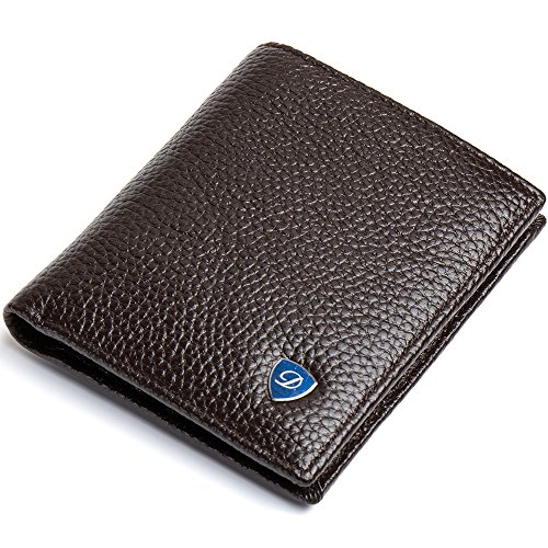 DANJUE Small Bifold Wallets for Men Thin Genuine Leather Durable 10 years Vertical Brown