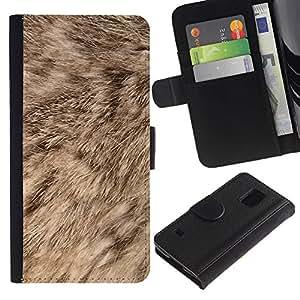Billetera de Cuero Caso Titular de la tarjeta Carcasa Funda para Samsung Galaxy S5 V SM-G900 / Fur Nature Dog Brown Animal / STRONG