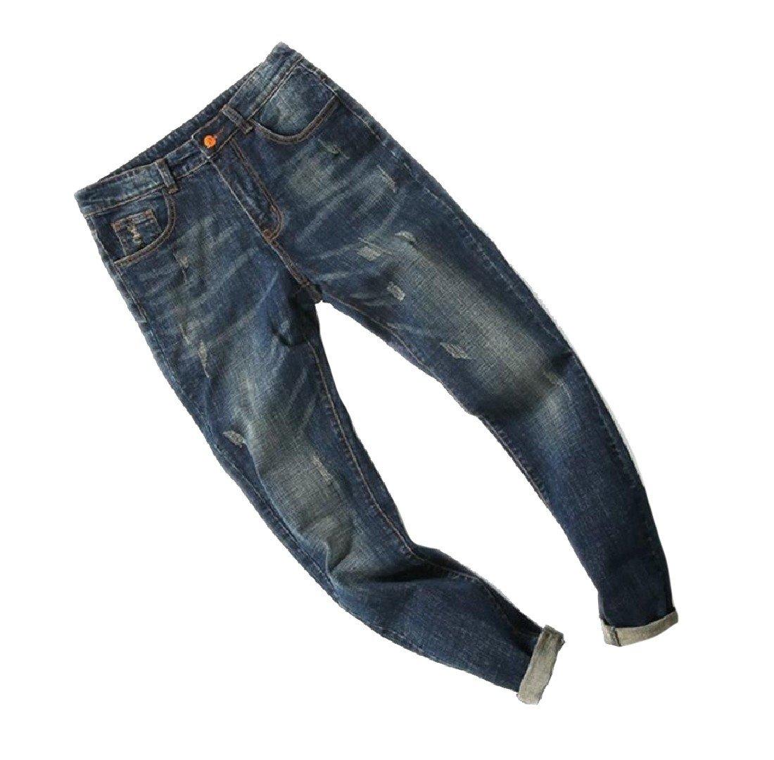 Zimaes Men's Hole Slim Fit Fine Cotton Trousers Stretch Juniors Jeans Blue 37