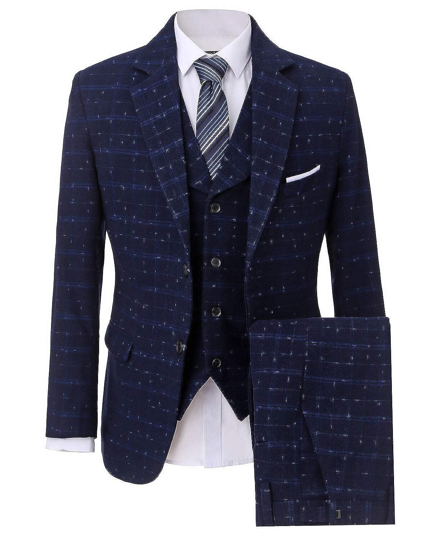 YBang 3 Pieces Casual Suit Plaid Dinner Blazer Collar Vest Flat Front Trousers