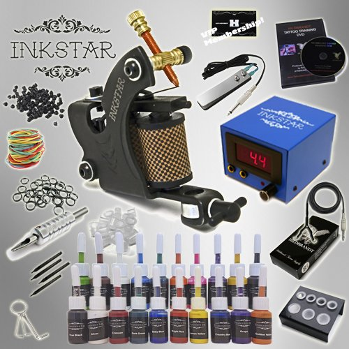 Complete Tattoo Kit Inkstar Venture C Machine Gun Power Supply 20 Truecolor Starter Ink Set