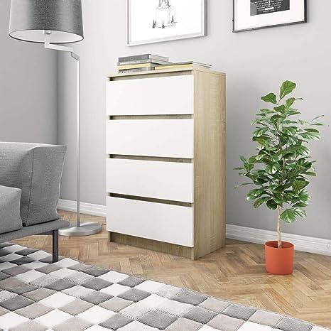 Modern Sideboard mit 4 Schubladen Kommode Anrichte Schrank Weiß /& Sonoma-Eiche