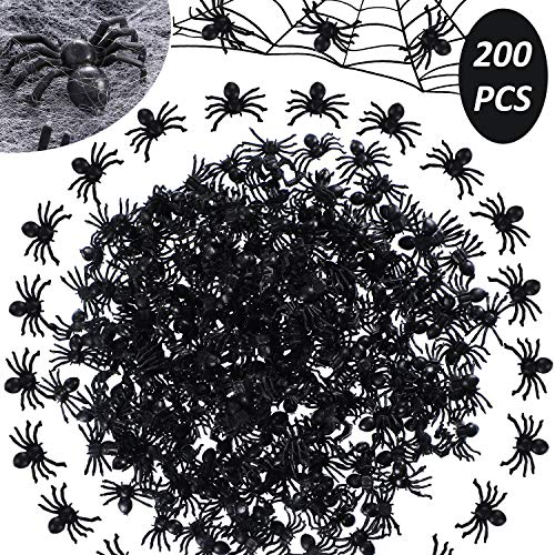 Halloween Scary Prank Candy (200 Pieces Realistic Fake Spider Plastic Spider Bugs Scary Creepy Prank Gag Gifts Trick Toys for Halloween Haunted Outdoor)