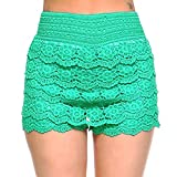 Fashionazzle Women's Casual Summer Beach Shorts Solid Lace Shorts (Small/Medium, SS05-Green)