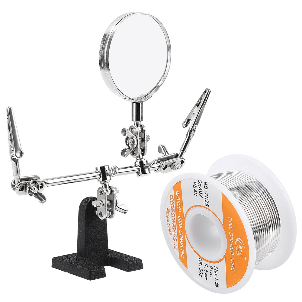 WYCTIN Helping Hand with Magnifying Glass Bonus 60-40 Tin Lead Rosin Core Solder Wire for Electrical Soldering and DIY by WYCTIN