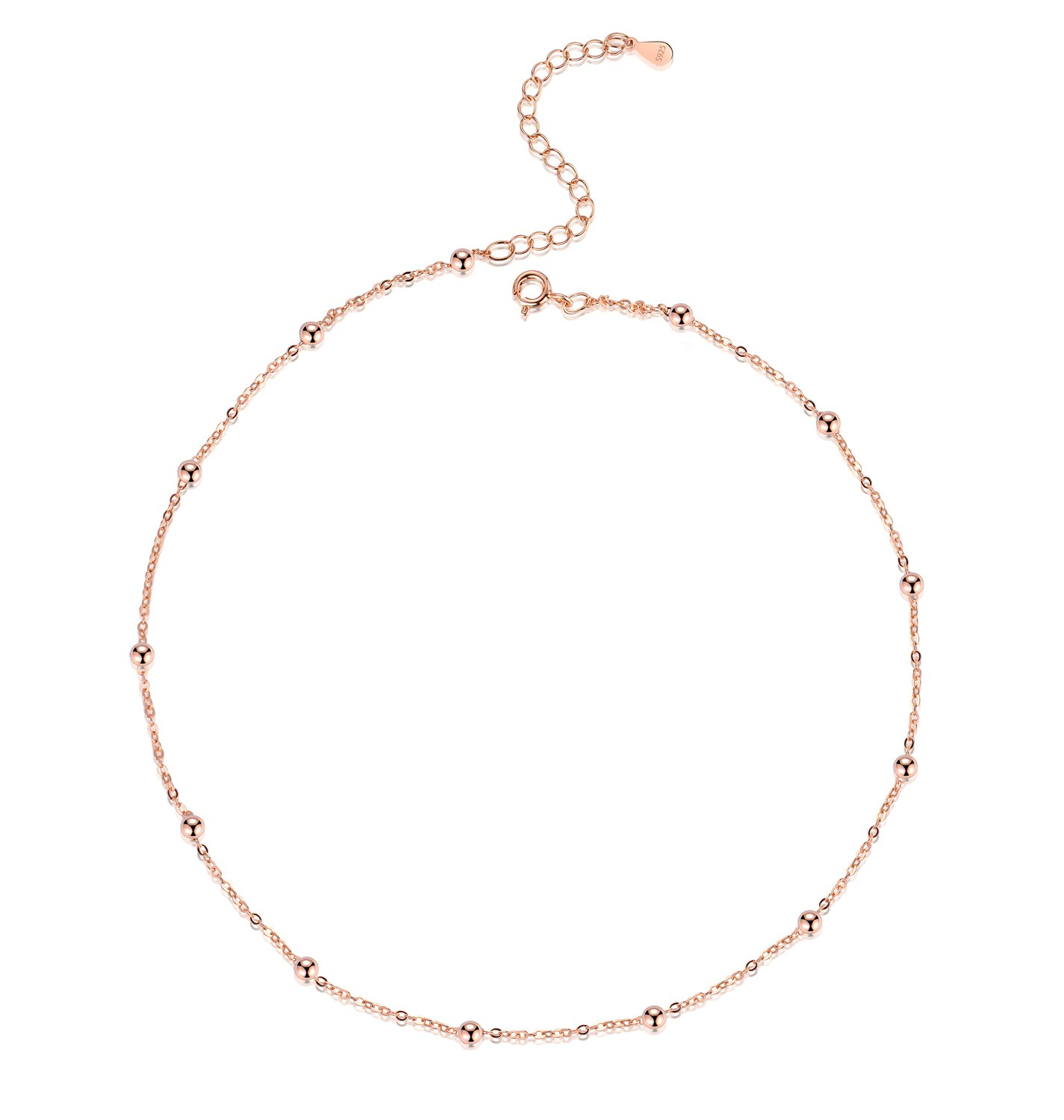 FOROLAV Women's 925 Sterling Silver Beaded Cable Chain Choker Necklace Adjustable, 13.7'' (Rose Gold Color)