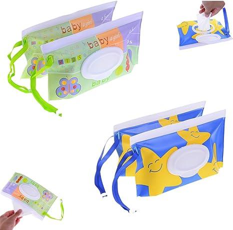 2 paños de viaje con diseño de dibujos animados para toallitas húmedas, reutilizables y rellenables, bolsa de viaje portátil para bebés y toallitas húmedas Mix: Amazon.es: Bebé