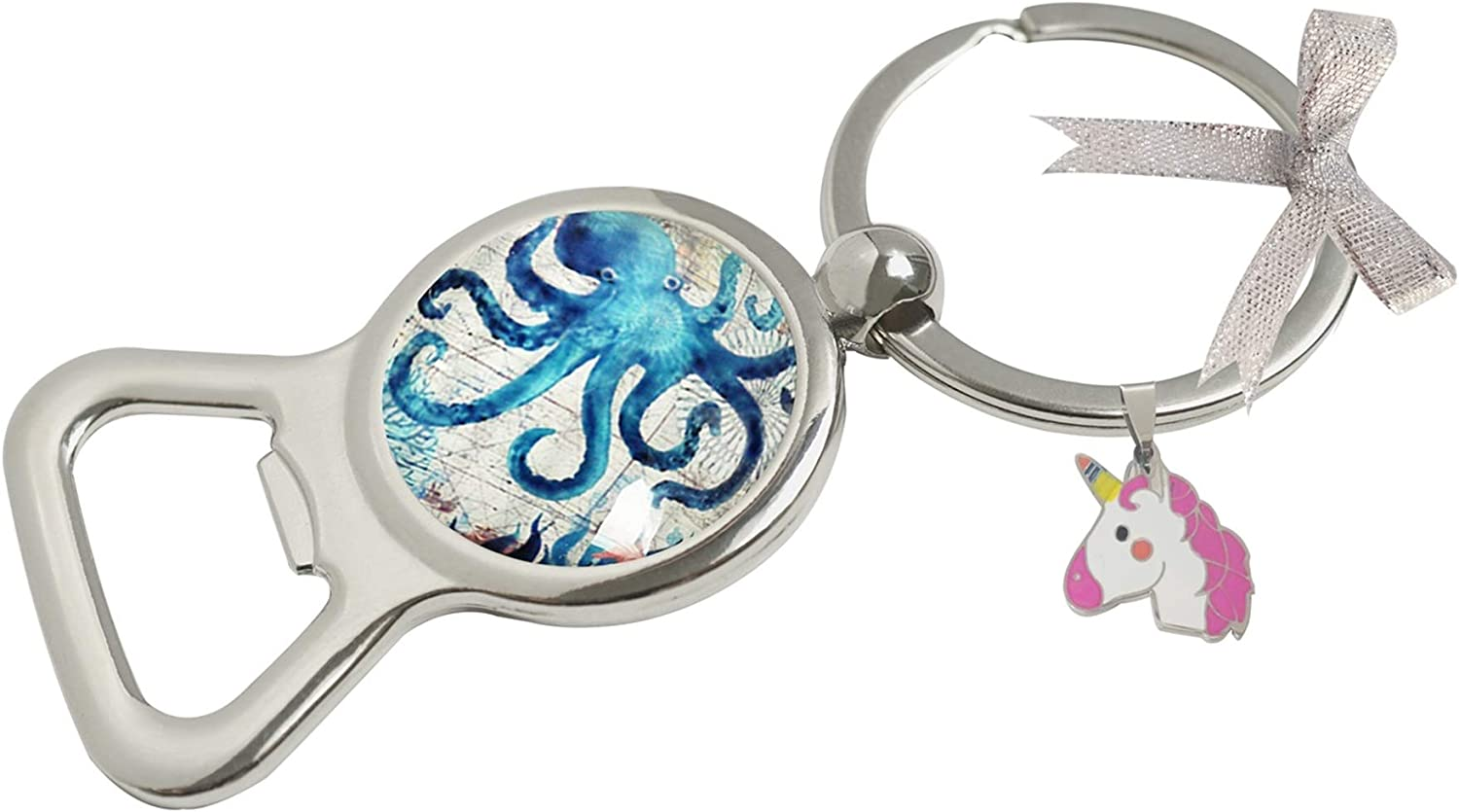 TopA Glass Image Custom Unique Bottle Opener Key Chain Key Ring Wedding Favors Party Reception Decoration (Octopus)