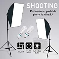 VOLKWELL Softbox Lighting Kit Professional Photography 2x135W Continuous Light Studio Equipment with 5500K 2X E27 Socket Bulbs and 2x20x28inch Reflectors for Portrait Product Fashion Shooting.