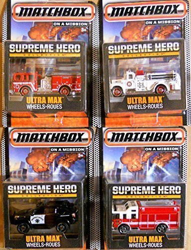 SUPREME Hero Matchbox Rescue 4 PK MBX 2015 Real Rubber Tires - Fire Truck & Police Rescue Set Ultra Max ()