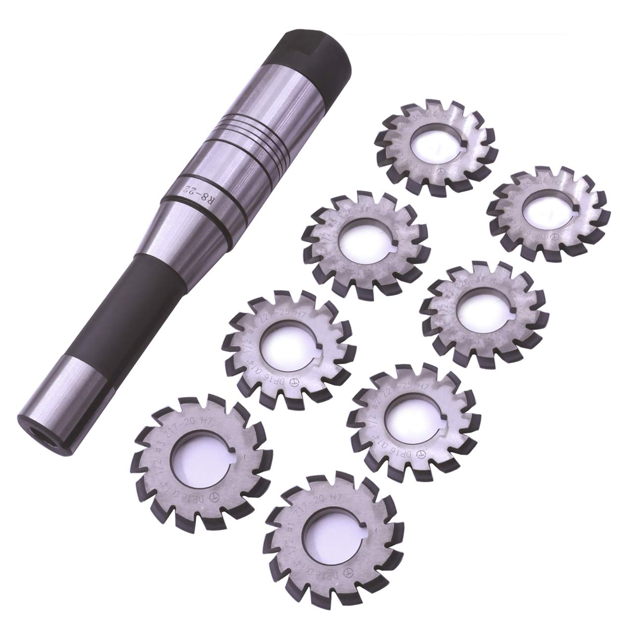 EVNSIX Dp16 PA14-1/2 Bore22 No. 1-8 Involute Gear Cutters+ 7/16 Inch 22mm R8 Shank Milling Arbor Gear Mill Cutter Holder Machine