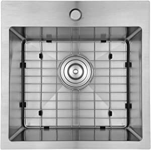 Starstar 18 inch Drop-in Topmount 304 Stainless Steel Single Bowl Bar/Kitchen/Laundry/Yard/Office Sink (With Grid)