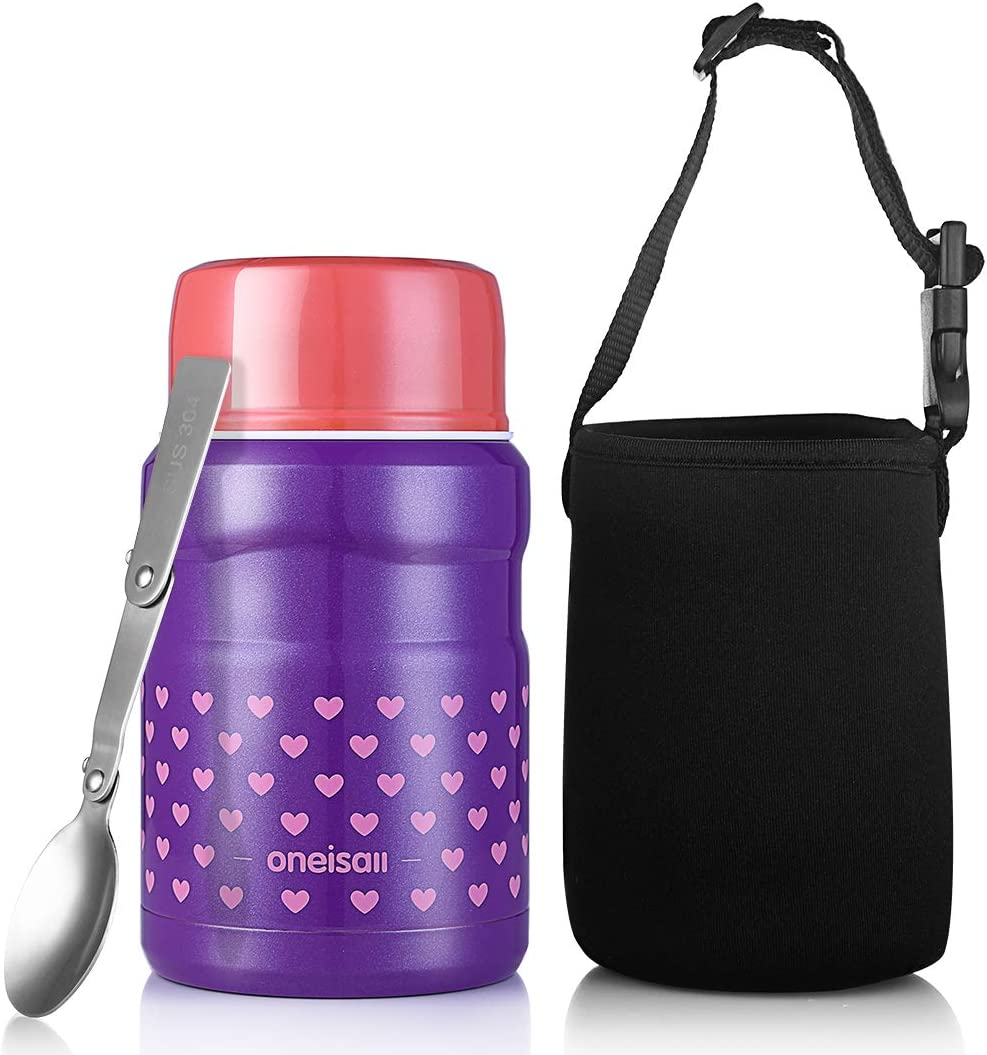 Stainless Steel Soup Food Flask Wide Mouth Lunch Container with Folding Spoon and Lunch Bag for Kids