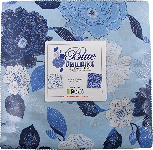 "Blue Brilliance~Floral Layer Cake 42, 10"" Cotton Squares by Benartex"