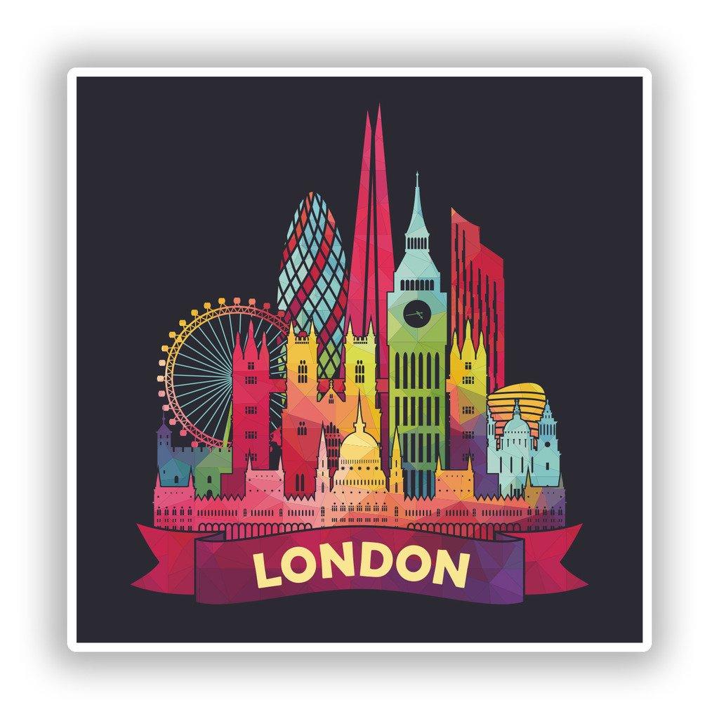 2 x 10 cm//100 mm Londres Skyline Pegatinas de Vinilo Equipaje de Viaje #7906