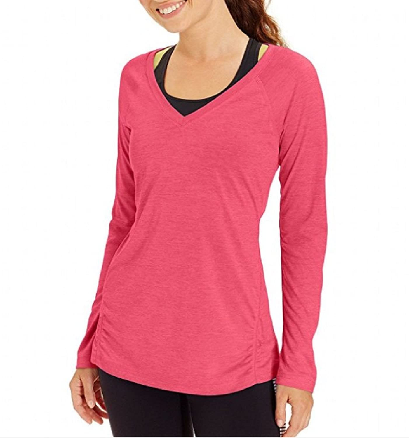 Ideology Women's Heathered Long-Sleeve Essential Tee Pink Large
