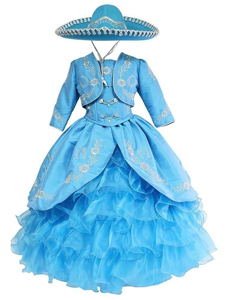 Calla Collection USA Big Girls Turquoise Silver Ruffles Embroidery Bolero Hat Mariachi Dress 8-12