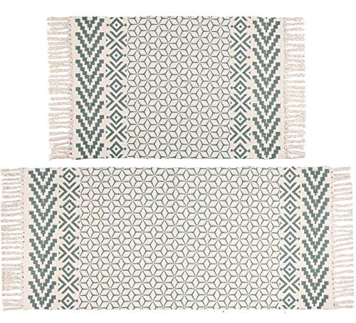 Pauwer Cotton Area Rug Set 2 Piece Washable Printed Cotton Rugs with Tassel Hand Woven Fringe Cotton Rug Runner for…