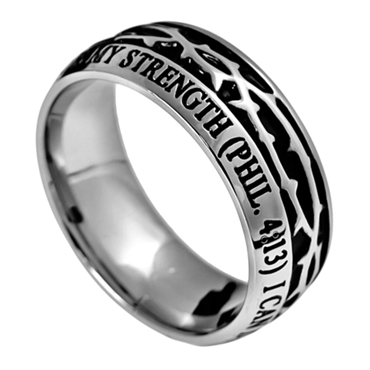 Philippians 4 13 Crown of Thorns Ring Stainless Steel Christian