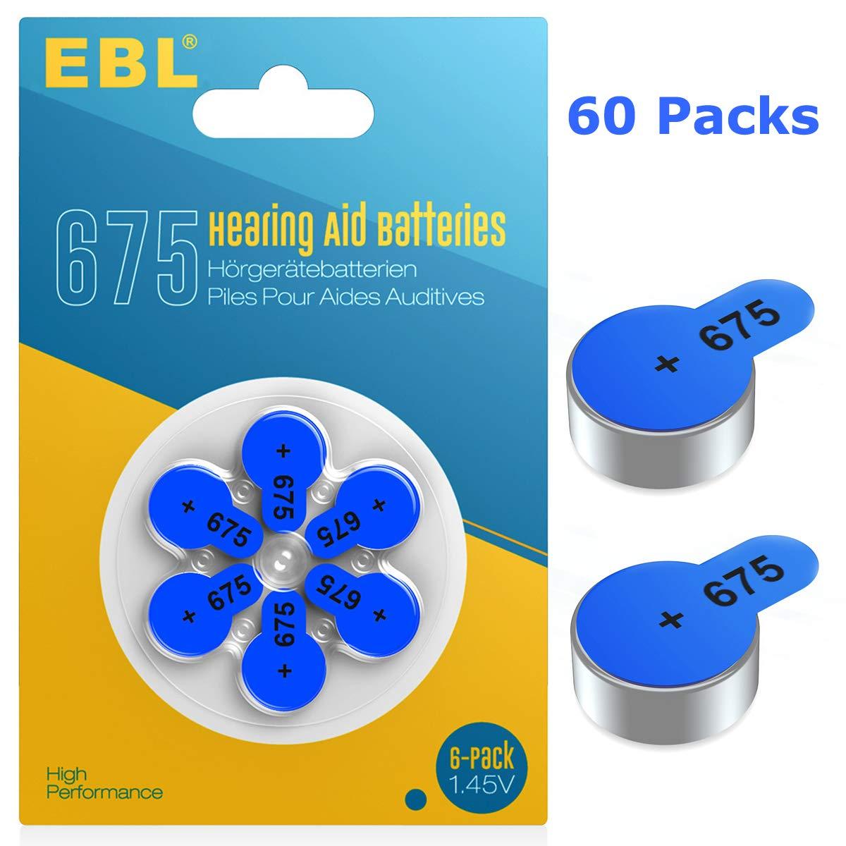 EBL Size 675 PR44 Hearing Aid Batteries 60 Pack 1.45V Zinc-Air Battery