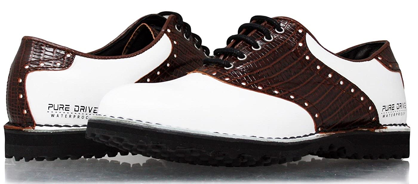 PORTMANN 2018 Spikeless Men's Golf Shoes | Extralight and Flexibility | Comfort & Fitting Warranted | Pure Drive Tec. B07CJWJQ7M 41 M EU / 8 -8.5 D(M) US|White Cal.\ Brown Pyton