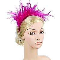 Minkissy Feather Headdress Headband Bridal Women Headwear for Party Special Events Weddings (Rosy)