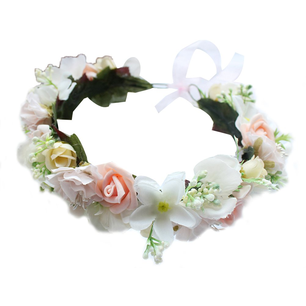 Bridal Floral Crown Flower Headband Wreath Garland for Vacation Wedding Photography Frcolor
