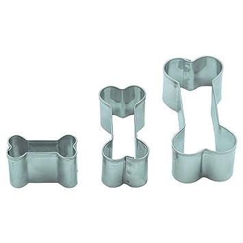 Juego de 3 moldes cortapastas en forma de hueso de acero inoxidable