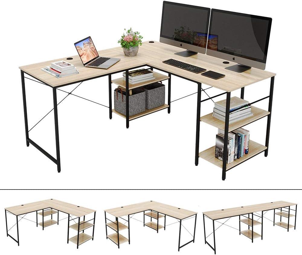 """Bestier 95.5""""L-shaped Desk with Storage Shelves,Adjustable 2 Person Desk L- shaped Corner Computer desk or Extra Long Desk with Shelves, Multi-Usage LargeTables Desk for Home Office Gaming Study (Oak)"""