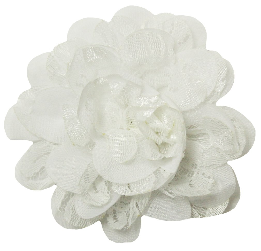 Wholesale Princess Chiffon Fabric and Lace Flower Hair Clip-White by Dress Up Dreams Boutique (Image #1)