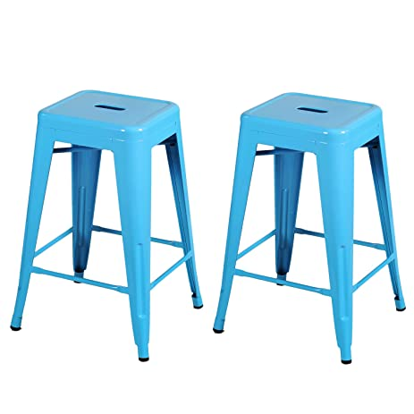 Joveco 24 Inches Sheet Metal Frame Tolix Style Industrial Chic Chair Backless Bar Counter Stools -  sc 1 st  Amazon.com & Amazon.com: Joveco 24 Inches Sheet Metal Frame Tolix Style ... islam-shia.org