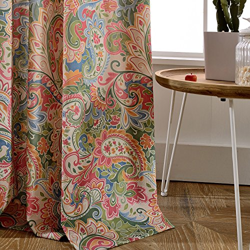 Polyester Cotton Colourful Paisley Curtain - KoTing 1 Panel Retro Patterned Decro Curtain Grommet Top 72W by 84L Inch