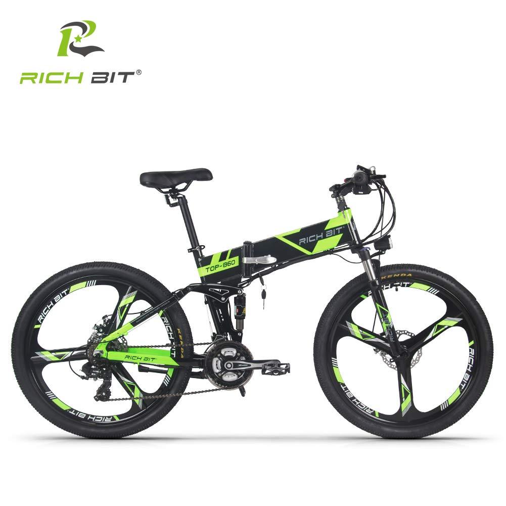 RICH BIT 860 アシスト自転車 折り畳み フルサスペンション 26インチ 36V12.8ahリチウムバッテリー 専用充電器付け 21段速 マウンテンバイク デスクブレーキ 防犯登録可能 (グリーン)   B07LGQ2XSP