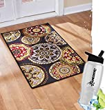 Gift Included-  Decorative High-Traffic Floor Rugs and Runners  Tangiers Decor Nylon W/Latex Backing + Free Bonus Water Bottle by  Homecricket (Oversized Accent Rug, 26'' x 45'')