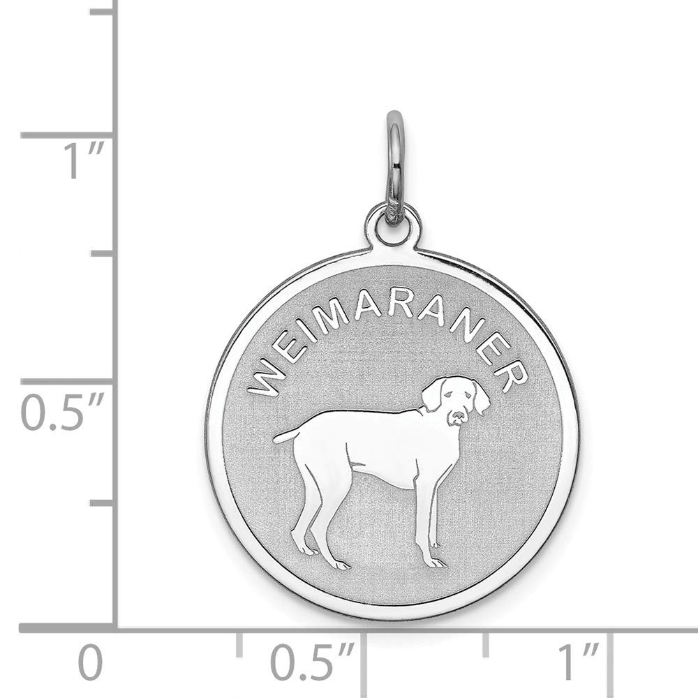 Solid 925 Sterling Silver Weimaraner Disc Pendant Charm 19mm x 26mm