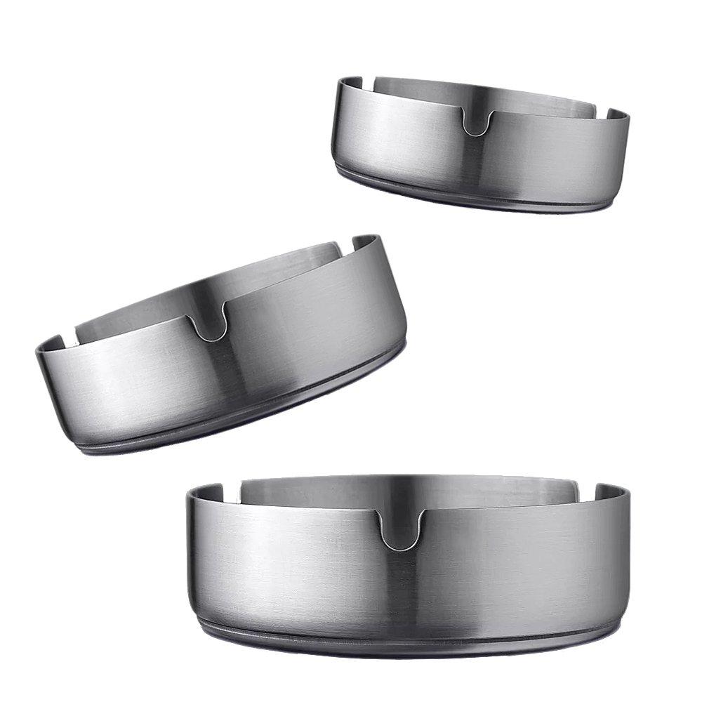 hjxl 3個灰皿、ステンレススチールモダンテーブルトップ灰皿屋内または屋外の使用、デスクトップSmokingアッシュトレイホームオフィスの装飾用 B078PFW8GD