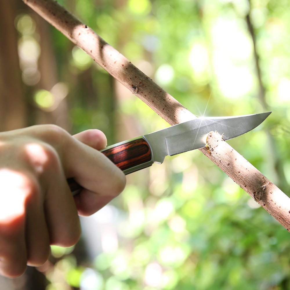 Z ZANMAX Folding Knife, 440C Stainless Pocket Knife Wood Handle Outdoor Camping Survival Hunting Knife Blade with Genuine Leather Sheath, Lockback Folding Knife, 3.5-Inch, Gift for Him by Z ZANMAX (Image #6)