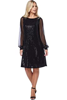 3a6bc0271d Roman Originals Evening Cocktail Christmas Party Little Black Dress - Ladies  Chiffon Long Sleeve Shimmer Stunning