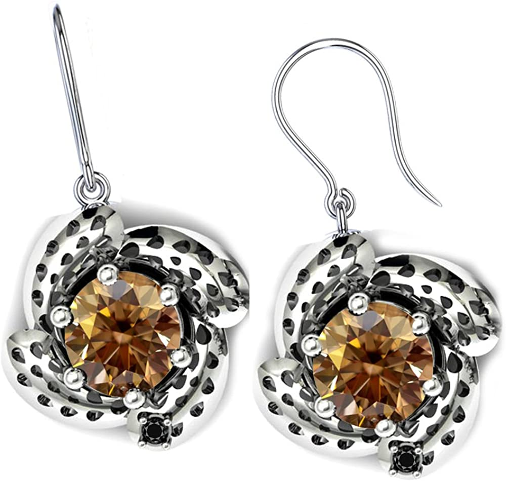 RINGJEWEL 2.52 ct vvs1//Round Cut Solitaire Silver Plated Real Moissanite Earrings Red Brown Hoop