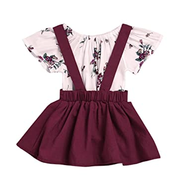 5eca123cd Amazon.com  Lanhui 2Pcs Infant Baby Girls Floral Print Rompers ...