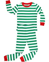 Elowel Boys Girls Christmas Striped 2 Piece Kids Pajamas Set 100% Cotton 6M-12Y