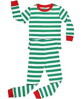 dff5de0f00 Elowel Boys Girls Christmas Striped 2 Piece Kids Pajamas Set 100% Cotton  6M-12Y